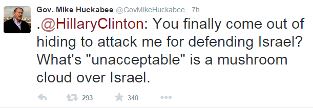 Huckabee tweet to Clinton