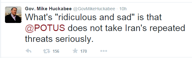 Huckabee tweet to Obama