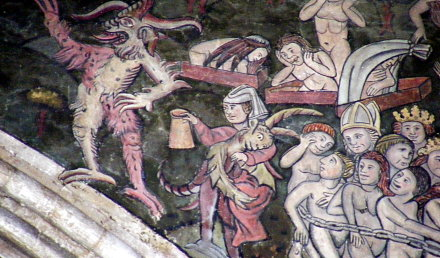 Mural from St Thomas's church. It depicts an ale wife doomed to hell for eternity for serving short measures.