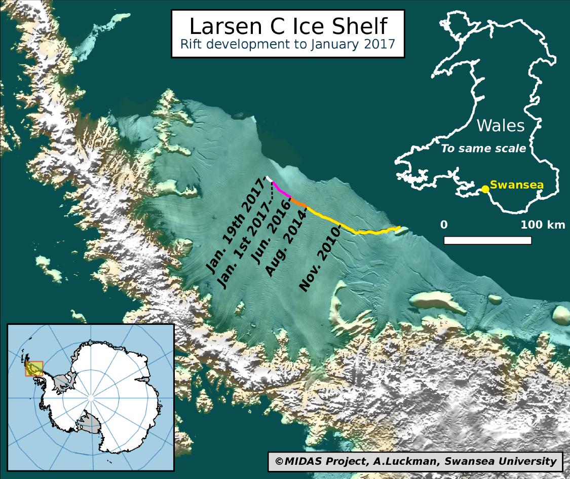 Larsen C rift-map-2017-01-19
