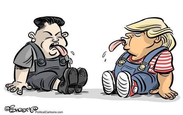 Kim vs Trump cartoon