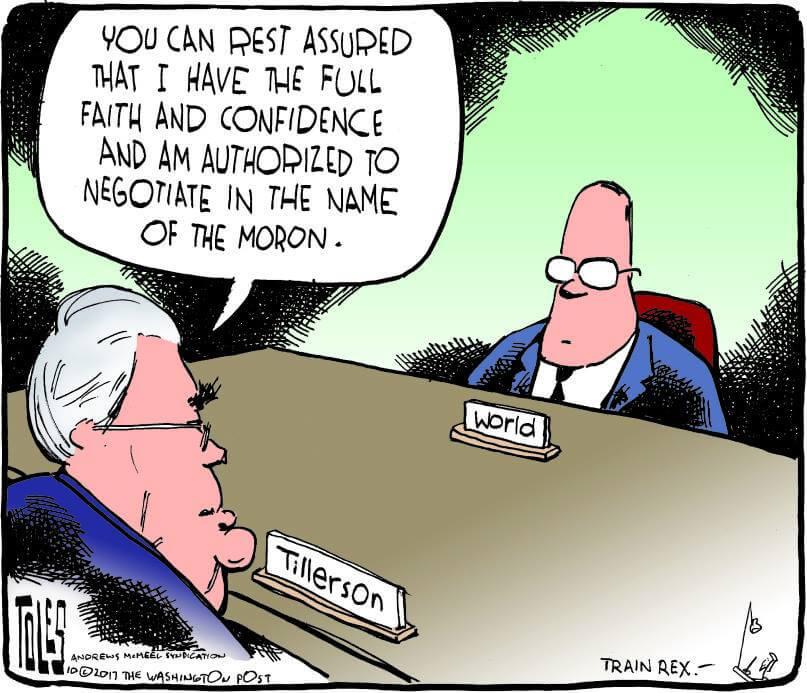 Cartoon Tillerson Negotiating