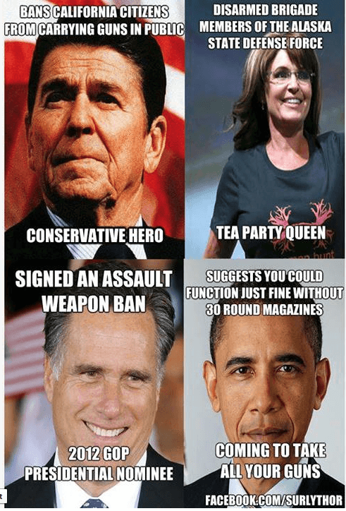 Reagan, Palin, Romney, Obama on gun laws.