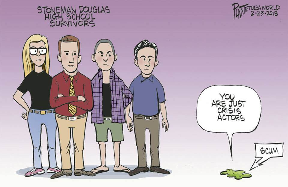 "Parkland ""Conspiracy Actors"" cartoon"