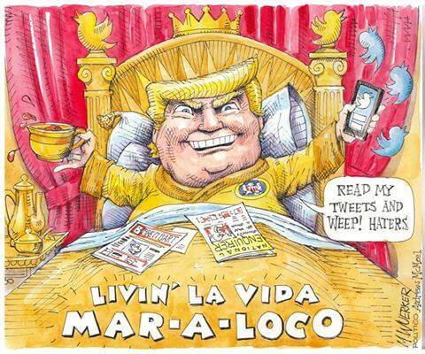 Trump lies via Twitter at Mar-a-lago cartoon