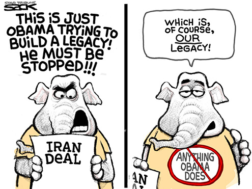 GOP opposes Iran deal because Obama is doing it cartoon