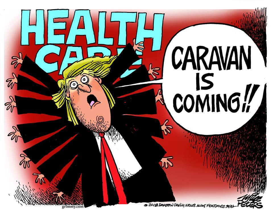 Cartoon: caravan is a distraction from health care, which Democrats are winning on